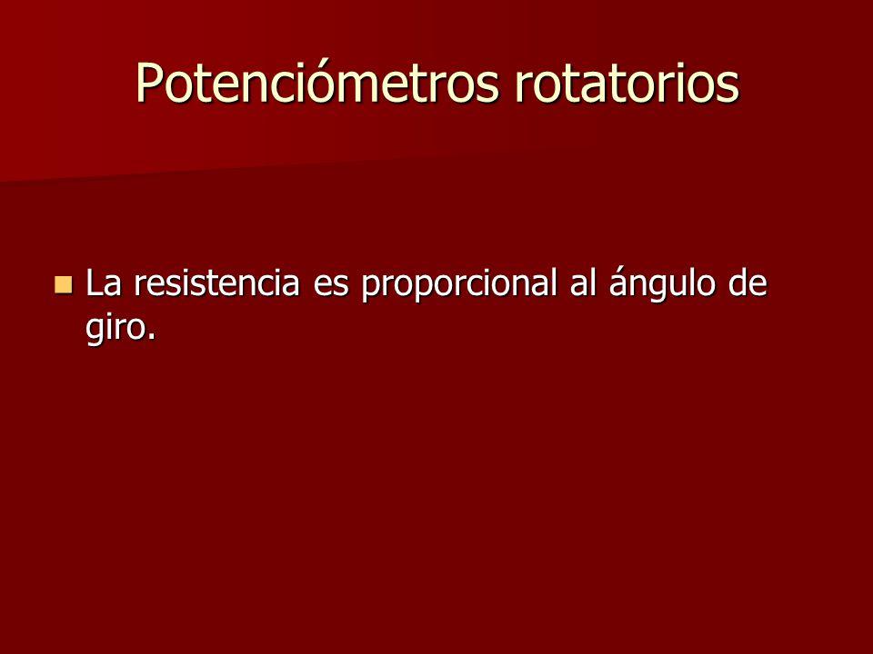 Potenciómetros rotatorios La resistencia es proporcional al ángulo de giro.