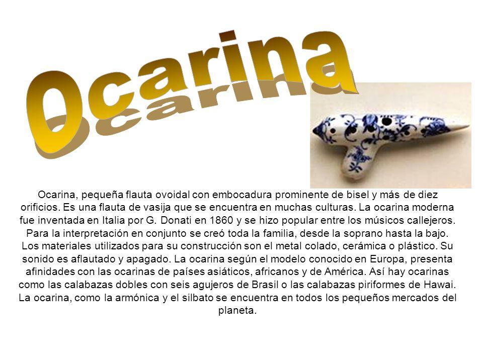 Ocarina, pequeña flauta ovoidal con embocadura prominente de bisel y más de diez orificios.