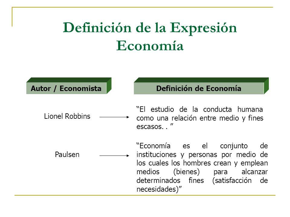 Definición de la Expresión Economía Economía es el conjunto de instituciones y personas por medio de los cuales los hombres crean y emplean medios (bi