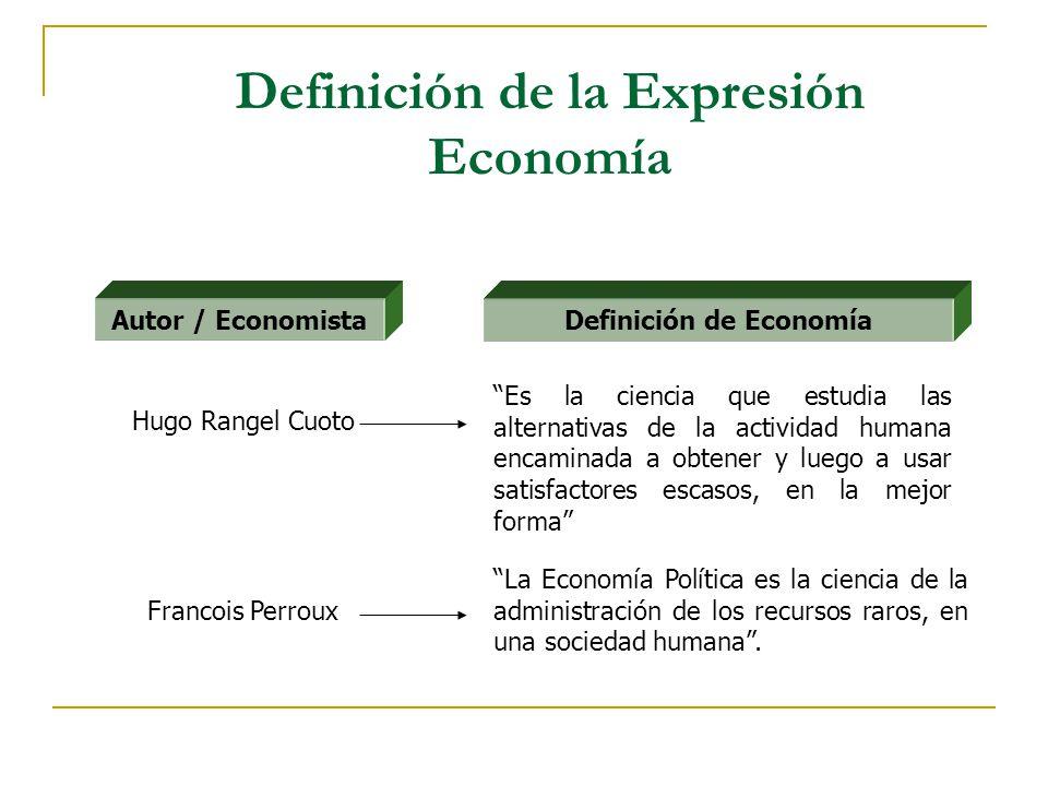 Definición de la Expresión Economía La Economía Política es la ciencia de la administración de los recursos raros, en una sociedad humana. Autor / Eco
