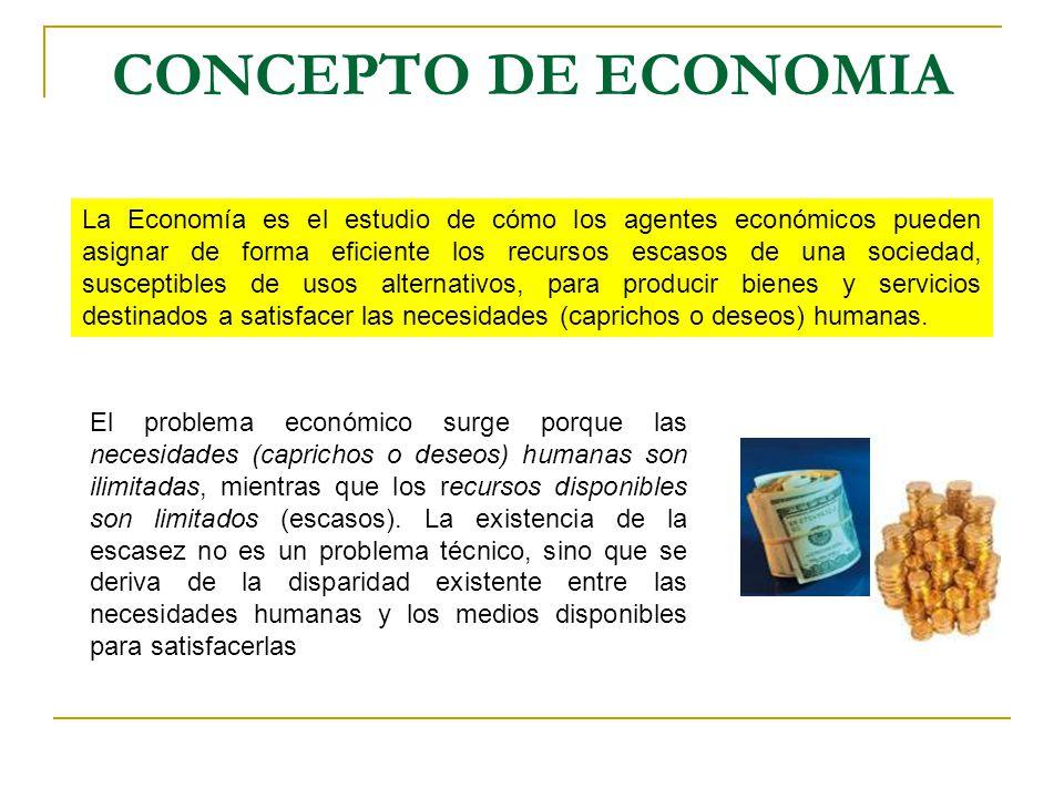 CONCEPTO DE ECONOMIA La Economía es el estudio de cómo los agentes económicos pueden asignar de forma eficiente los recursos escasos de una sociedad,