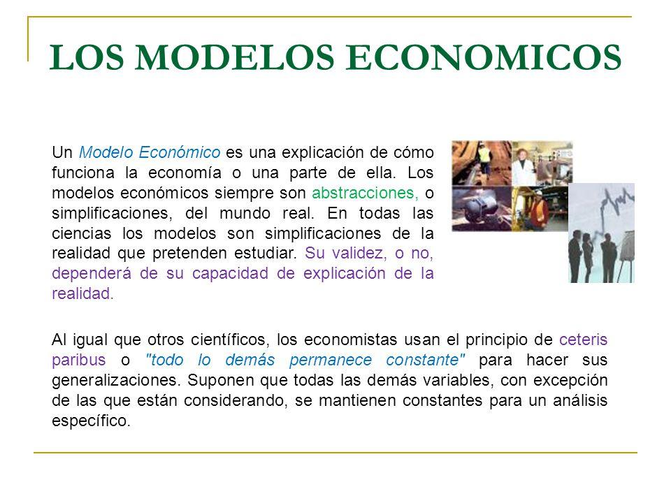 LOS MODELOS ECONOMICOS Un Modelo Económico es una explicación de cómo funciona la economía o una parte de ella. Los modelos económicos siempre son abs