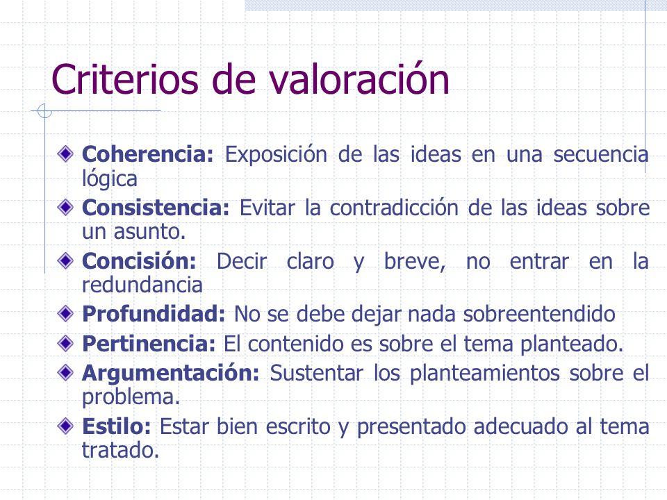 Criterios de valoración Coherencia: Exposición de las ideas en una secuencia lógica Consistencia: Evitar la contradicción de las ideas sobre un asunto.