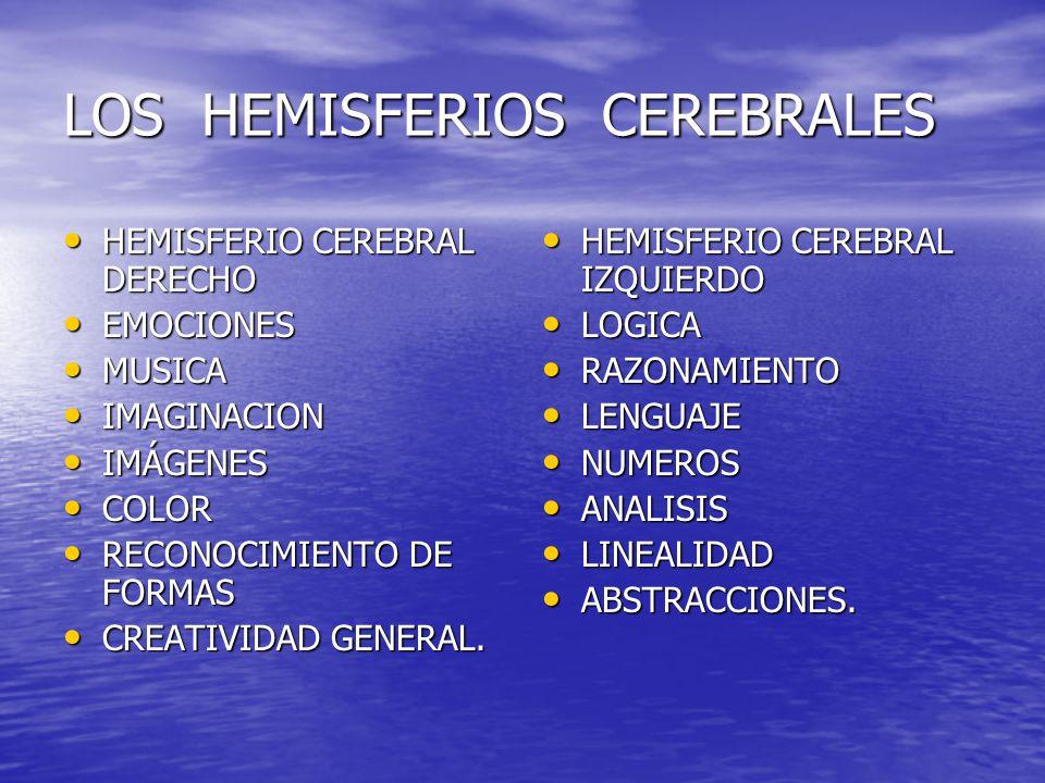 LOS HEMISFERIOS CEREBRALES HEMISFERIO CEREBRAL DERECHO HEMISFERIO CEREBRAL DERECHO EMOCIONES EMOCIONES MUSICA MUSICA IMAGINACION IMAGINACION IMÁGENES