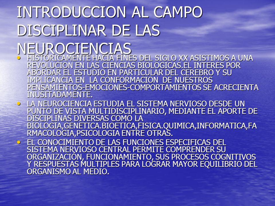 OBJETIVOS DE LA NEUROCIENCIA DESCRIBIR LA ORGANIZACIÓN Y FUNCIONAMIENTO DEL SISTEMA NERVIOSO, EN PARTICULAR EL CEREBRO Y SUS AREAS DE CONOCIMIENTO.