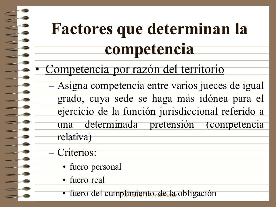 Giovanni F. Priori Posada Factores que determinan la competencia Competencia por razón del territorio –Asigna competencia entre varios jueces de igual