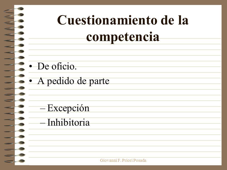 Giovanni F. Priori Posada Cuestionamiento de la competencia De oficio. A pedido de parte –Excepción –Inhibitoria