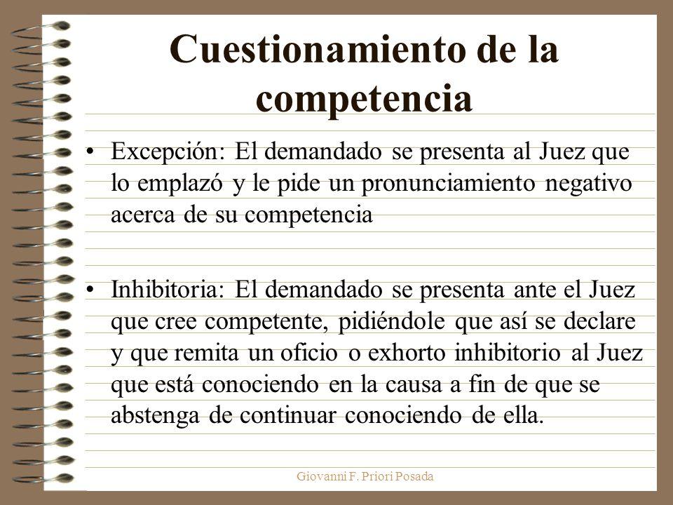 Giovanni F. Priori Posada Cuestionamiento de la competencia Excepción: El demandado se presenta al Juez que lo emplazó y le pide un pronunciamiento ne