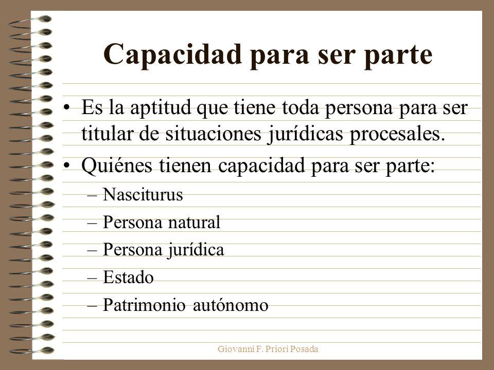 Giovanni F. Priori Posada Capacidad para ser parte Es la aptitud que tiene toda persona para ser titular de situaciones jurídicas procesales. Quiénes