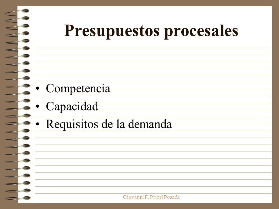 Giovanni F. Priori Posada Presupuestos procesales Competencia Capacidad Requisitos de la demanda