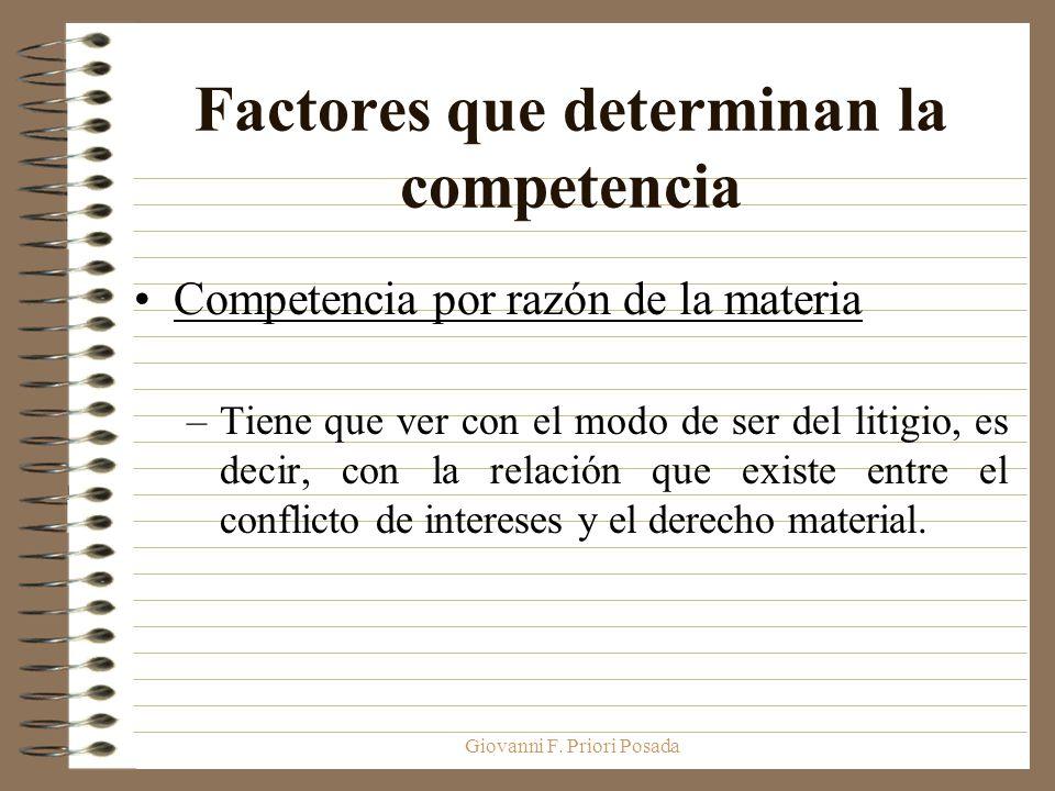 Giovanni F. Priori Posada Factores que determinan la competencia Competencia por razón de la materia –Tiene que ver con el modo de ser del litigio, es