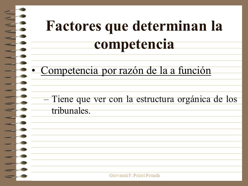 Giovanni F. Priori Posada Factores que determinan la competencia Competencia por razón de la a función –Tiene que ver con la estructura orgánica de lo