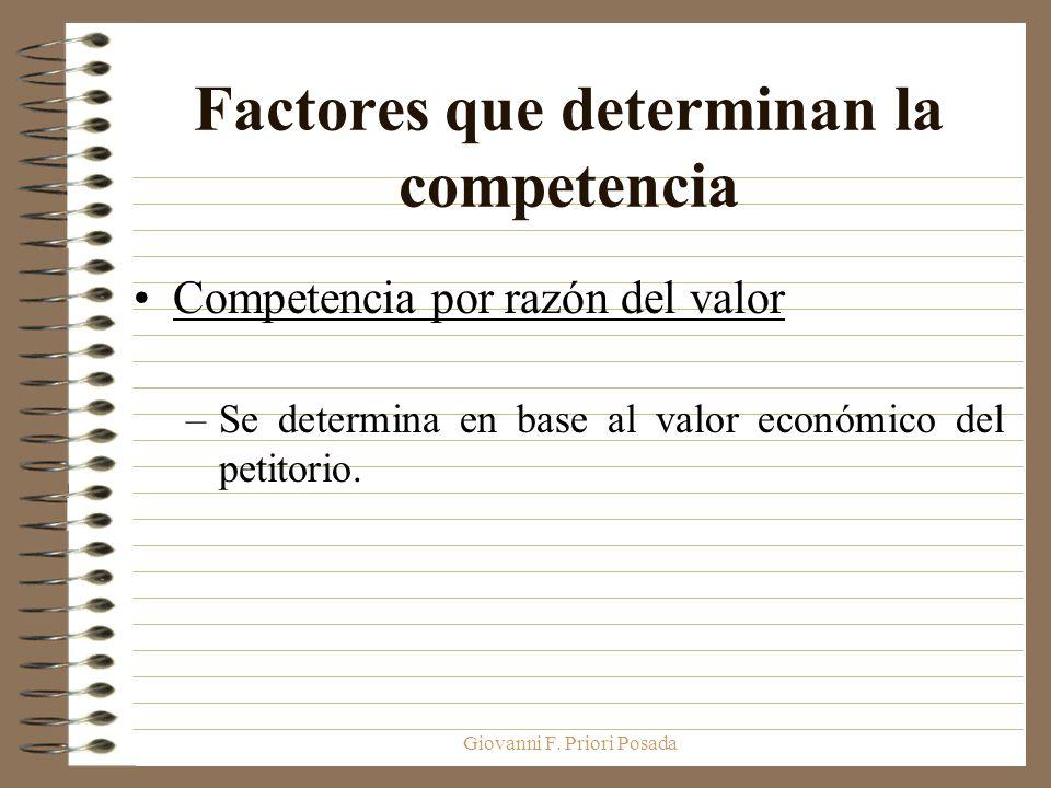 Giovanni F. Priori Posada Factores que determinan la competencia Competencia por razón del valor –Se determina en base al valor económico del petitori