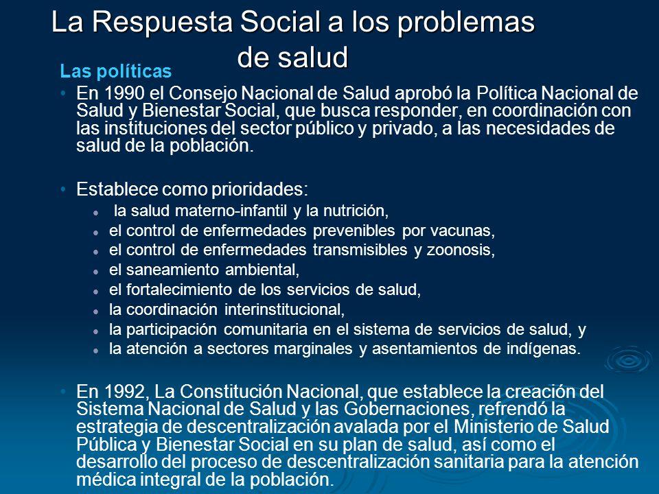 Las políticas En 1990 el Consejo Nacional de Salud aprobó la Política Nacional de Salud y Bienestar Social, que busca responder, en coordinación con l