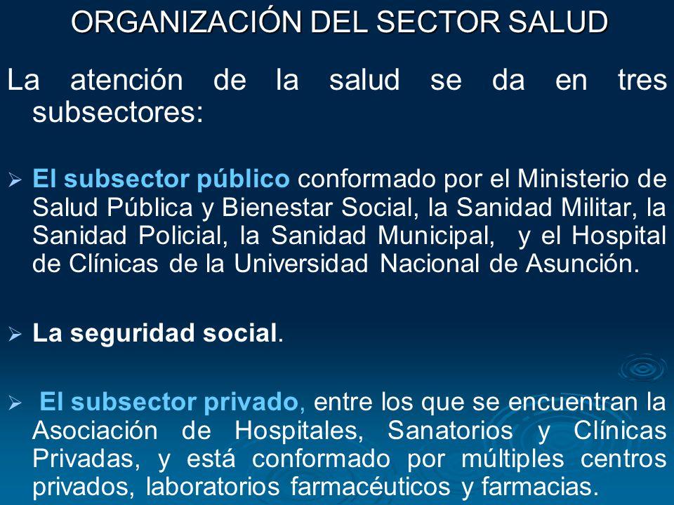 La atención de la salud se da en tres subsectores: El subsector público conformado por el Ministerio de Salud Pública y Bienestar Social, la Sanidad M