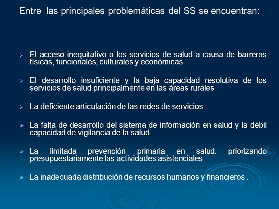 Entre las principales problemáticas del SS se encuentran: El acceso inequitativo a los servicios de salud a causa de barreras físicas, funcionales, cu