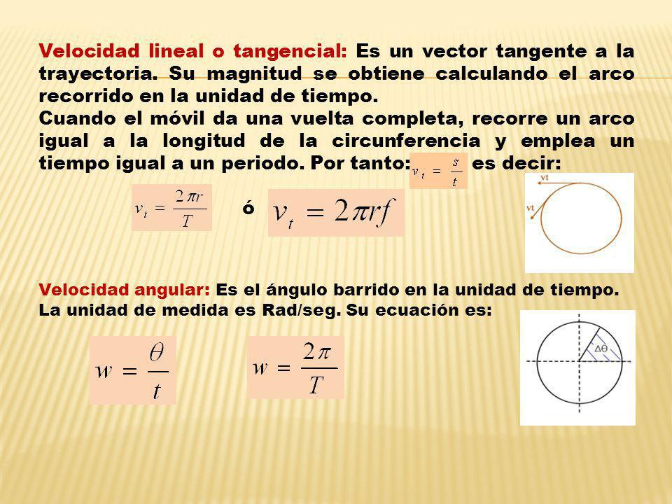 Velocidad lineal o tangencial: Es un vector tangente a la trayectoria. Su magnitud se obtiene calculando el arco recorrido en la unidad de tiempo. Cua