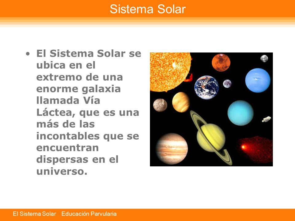 El Sistema Solar Educación Parvularia
