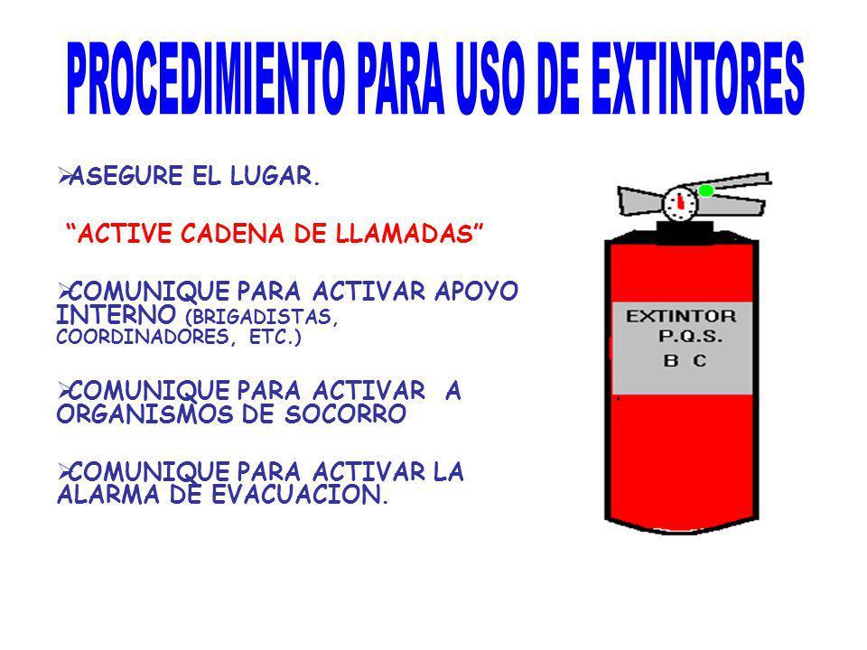 ASEGURE EL LUGAR. ACTIVE CADENA DE LLAMADAS COMUNIQUE PARA ACTIVAR APOYO INTERNO (BRIGADISTAS, COORDINADORES, ETC.) COMUNIQUE PARA ACTIVAR A ORGANISMO