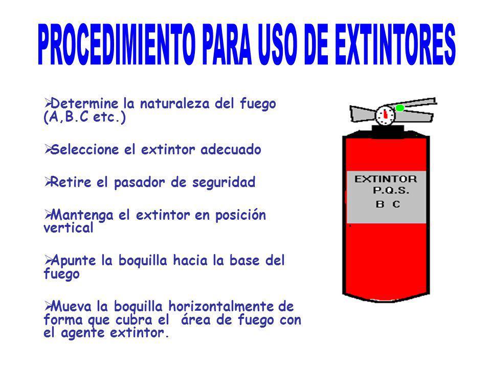 Determine la naturaleza del fuego (A,B.C etc.) Seleccione el extintor adecuado Retire el pasador de seguridad Mantenga el extintor en posición vertica