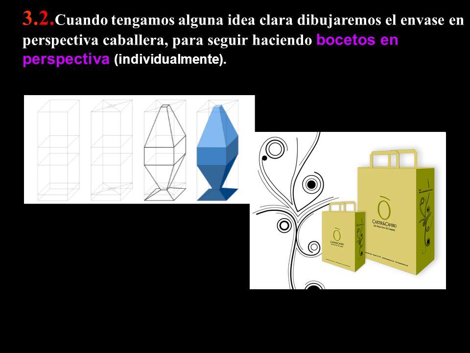 3.2. Cuando tengamos alguna idea clara dibujaremos el envase en perspectiva caballera, para seguir haciendo bocetos en perspectiva (individualmente).
