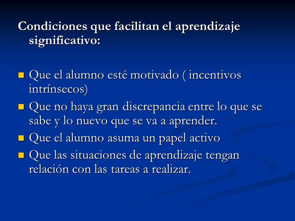Condiciones que facilitan el aprendizaje significativo: Que el alumno esté motivado ( incentivos intrínsecos) Que el alumno esté motivado ( incentivos