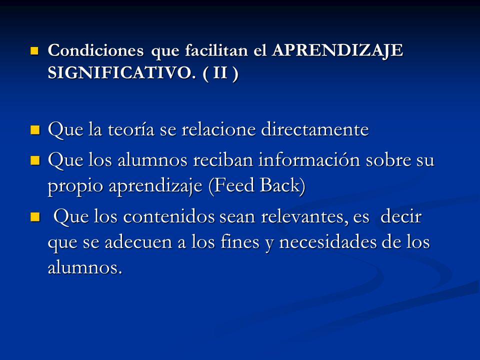 Condiciones que facilitan el APRENDIZAJE SIGNIFICATIVO. ( II ) Condiciones que facilitan el APRENDIZAJE SIGNIFICATIVO. ( II ) Que la teoría se relacio