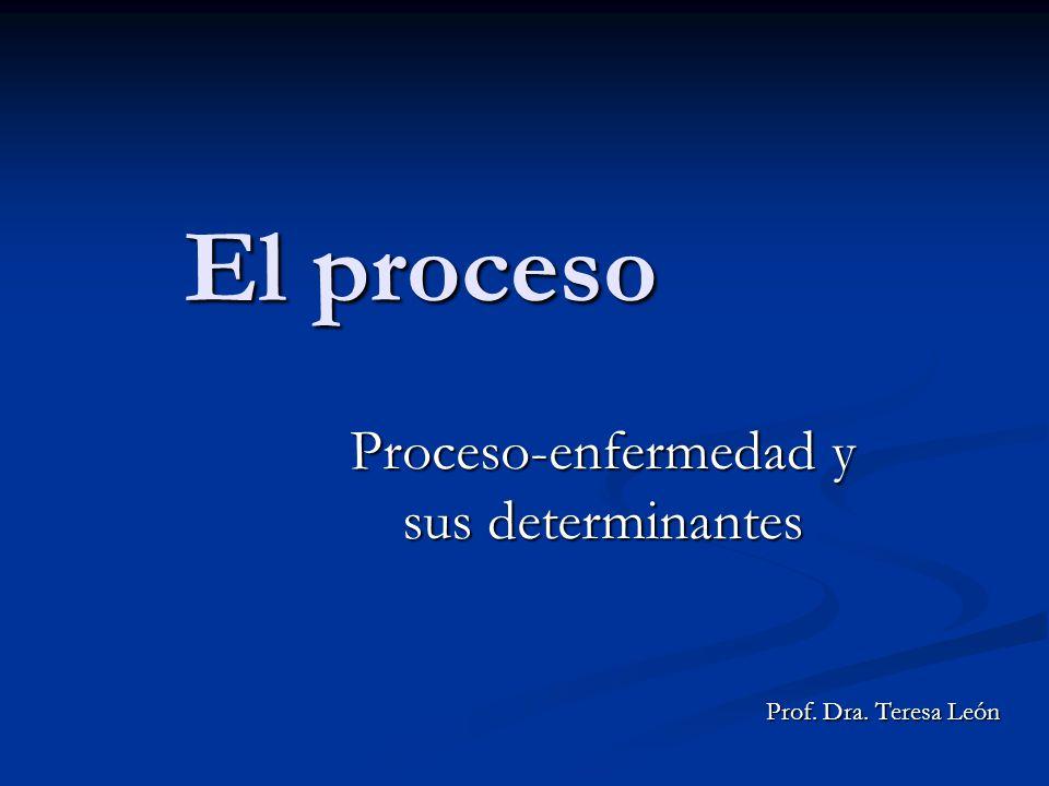 El proceso Proceso-enfermedad y sus determinantes Prof. Dra. Teresa León