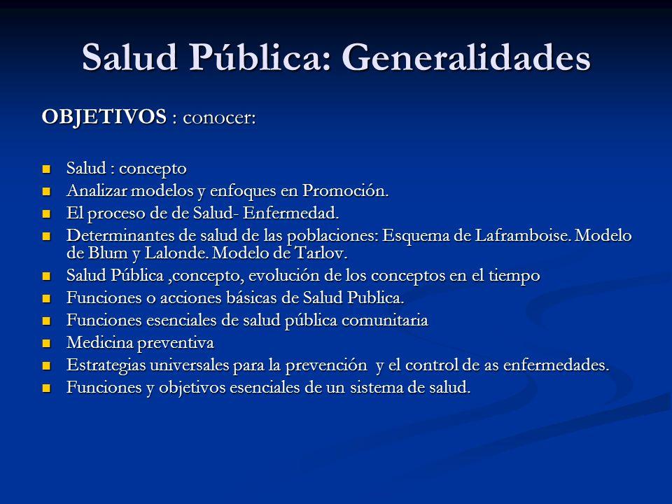 Salud Pública: Generalidades OBJETIVOS : conocer: Salud : concepto Salud : concepto Analizar modelos y enfoques en Promoción. Analizar modelos y enfoq