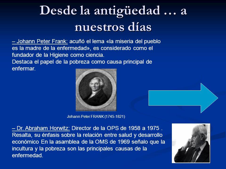Desde la antigüedad … a nuestros días – Johann Peter Frank: acuñó el lema «la miseria del pueblo es la madre de la enfermedad», es considerado como el fundador de la Higiene como ciencia.