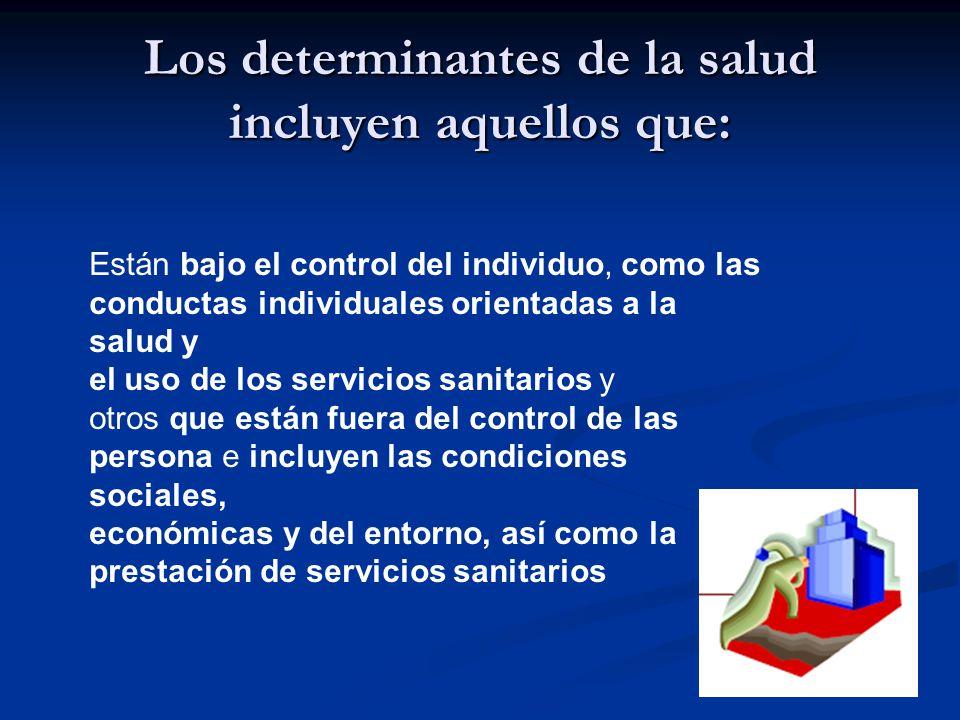 Los determinantes de la salud incluyen aquellos que: Están bajo el control del individuo, como las conductas individuales orientadas a la salud y el uso de los servicios sanitarios y otros que están fuera del control de las persona e incluyen las condiciones sociales, económicas y del entorno, así como la prestación de servicios sanitarios