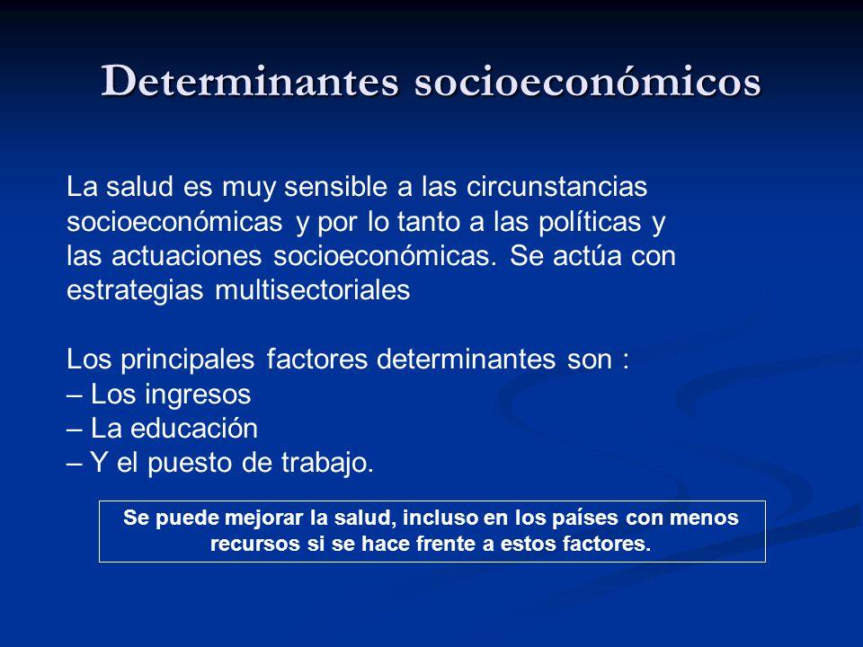 Determinantes socioeconómicos La salud es muy sensible a las circunstancias socioeconómicas y por lo tanto a las políticas y las actuaciones socioeconómicas.