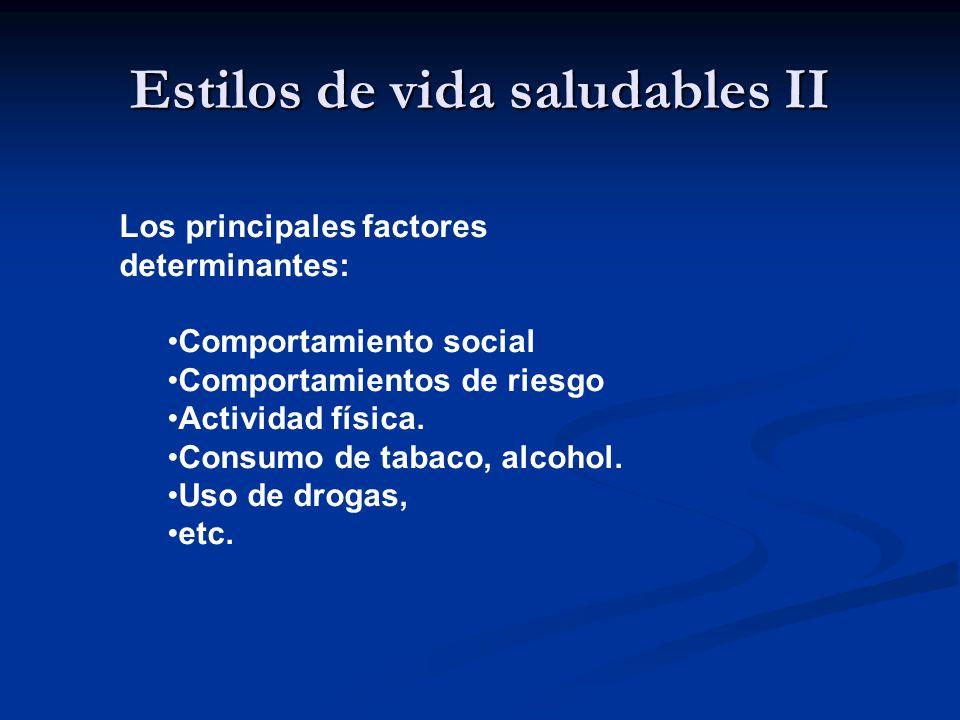 Estilos de vida saludables II Los principales factores determinantes: Comportamiento social Comportamientos de riesgo Actividad física.