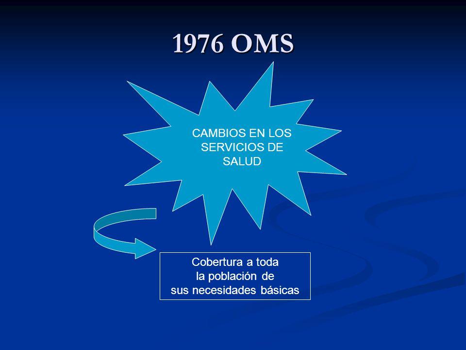 1976 OMS CAMBIOS EN LOS SERVICIOS DE SALUD Cobertura a toda la población de sus necesidades básicas