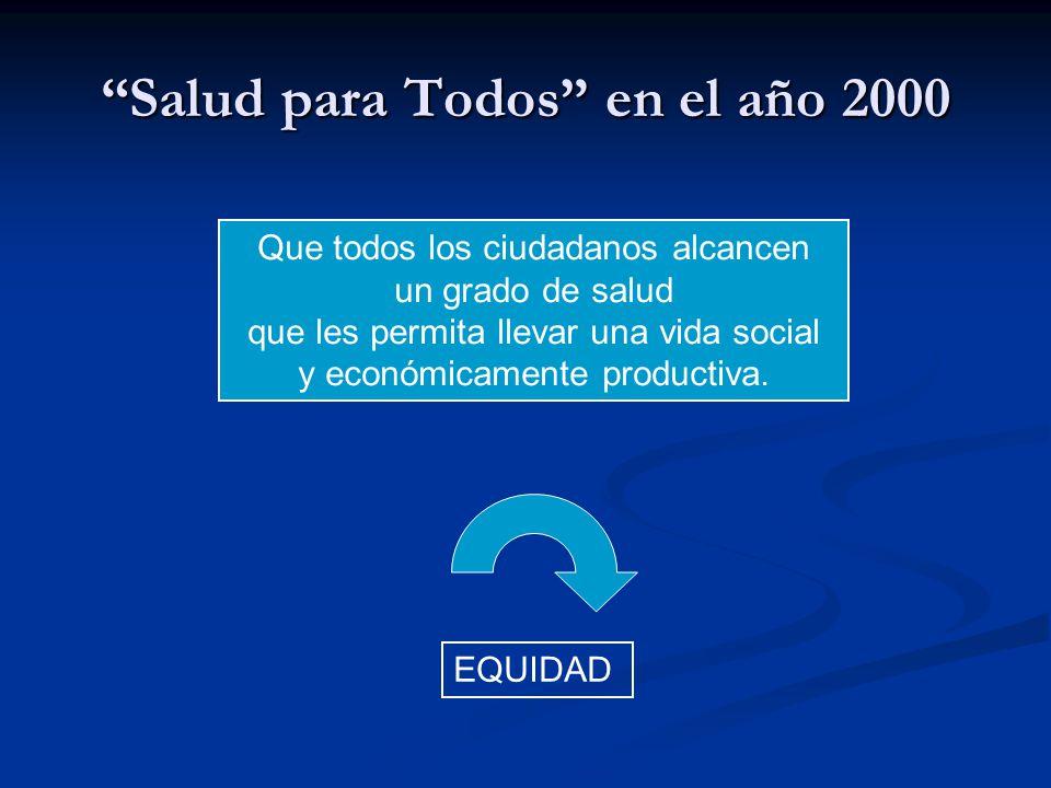 Salud para Todos en el año 2000 Que todos los ciudadanos alcancen un grado de salud que les permita llevar una vida social y económicamente productiva.