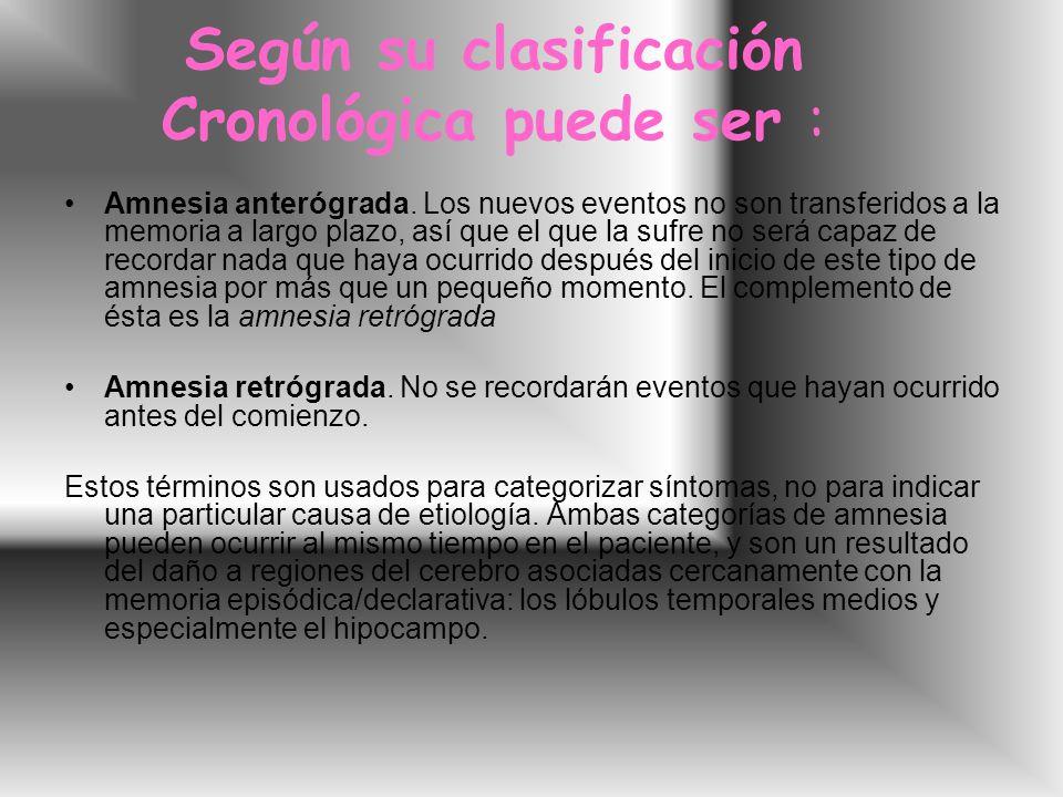 Según su clasificación Cronológica puede ser : Amnesia anterógrada.