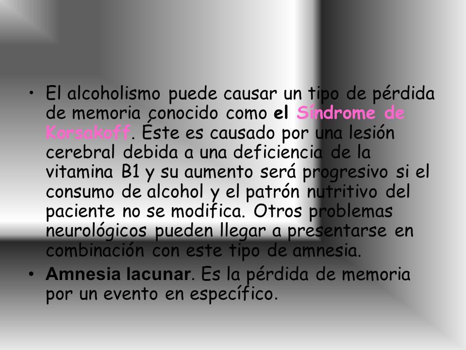 El alcoholismo puede causar un tipo de pérdida de memoria conocido como el Síndrome de Korsakoff.