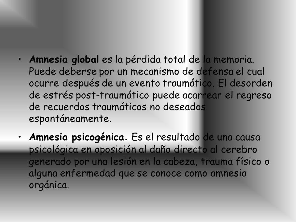 Amnesia global es la pérdida total de la memoria.
