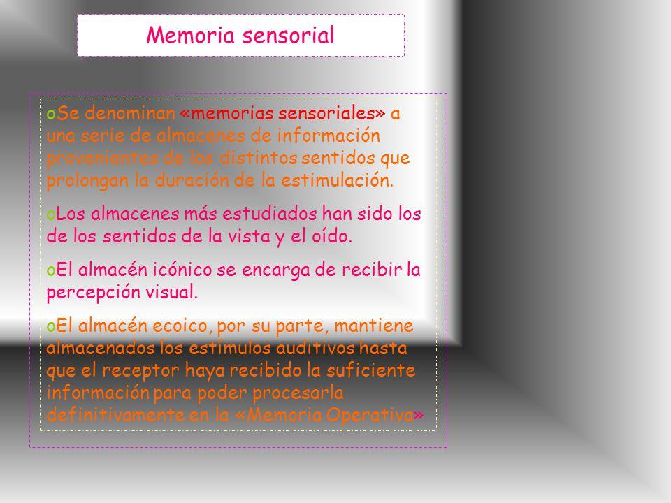 Memoria sensorial oSe denominan «memorias sensoriales» a una serie de almacenes de información provenientes de los distintos sentidos que prolongan la duración de la estimulación.
