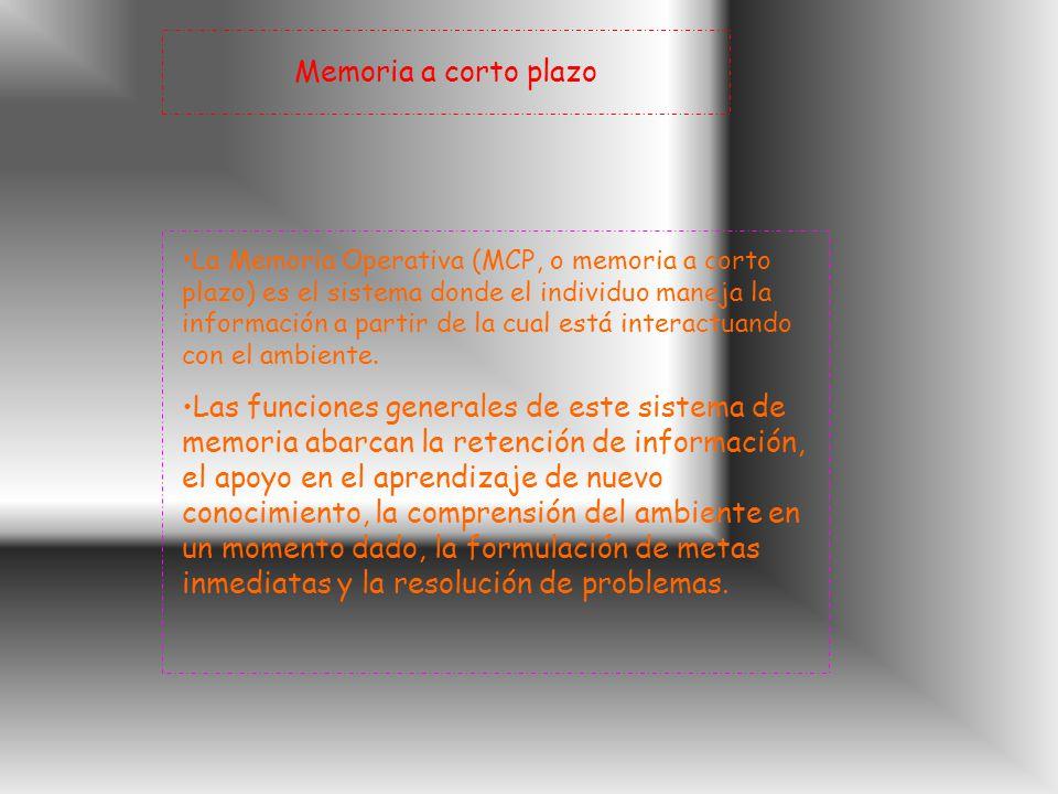 Memoria a corto plazo La Memoria Operativa (MCP, o memoria a corto plazo) es el sistema donde el individuo maneja la información a partir de la cual está interactuando con el ambiente.