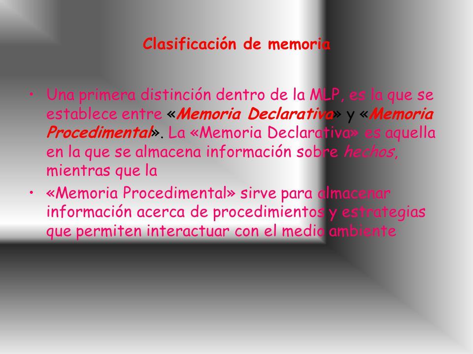 Clasificación de memoria Una primera distinción dentro de la MLP, es la que se establece entre «Memoria Declarativa» y «Memoria Procedimental».