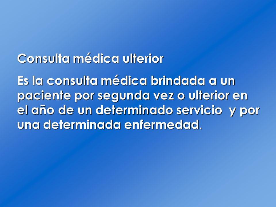 Consulta médica ulterior Es la consulta médica brindada a un paciente por segunda vez o ulterior en el año de un determinado servicio y por una determ
