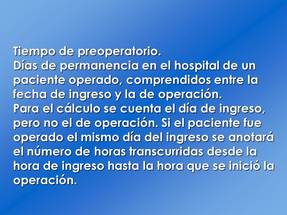 Tiempo de preoperatorio. Días de permanencia en el hospital de un paciente operado, comprendidos entre la fecha de ingreso y la de operación. Para el