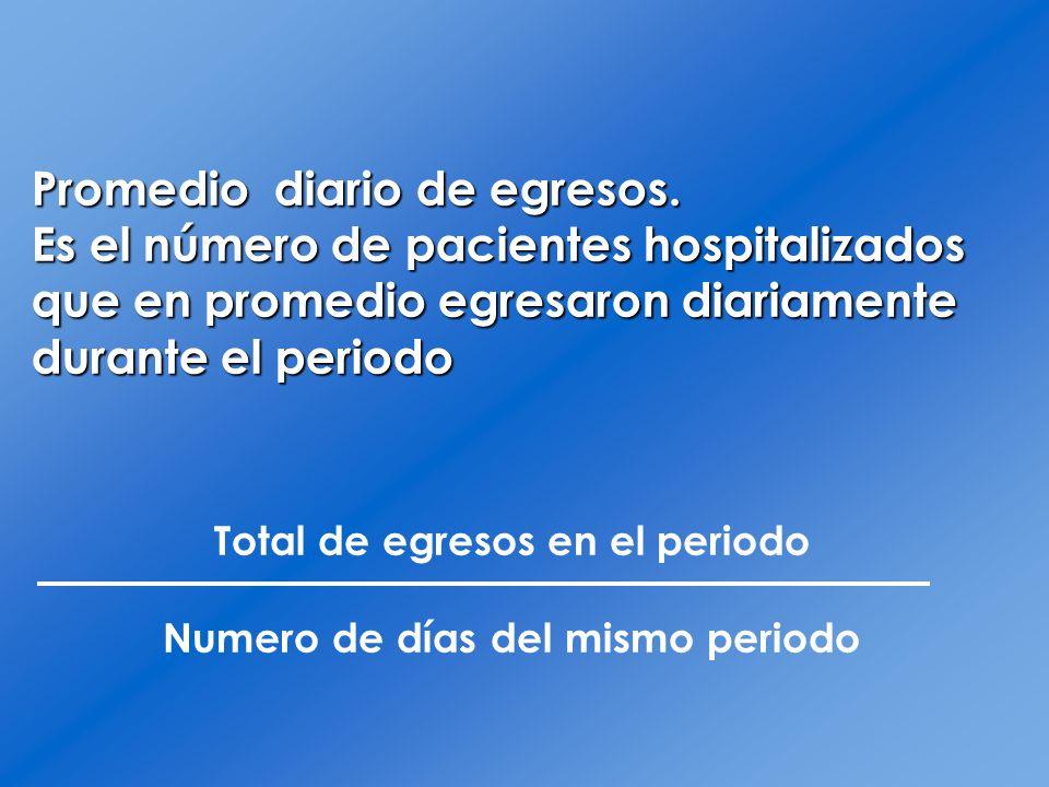 Promedio diario de egresos. Es el número de pacientes hospitalizados que en promedio egresaron diariamente durante el periodo Total de egresos en el p