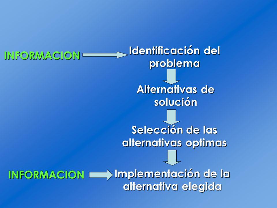 Identificación del problema Alternativas de solución Selección de las alternativas optimas Implementaciónde la alternativa elegida Implementación de l