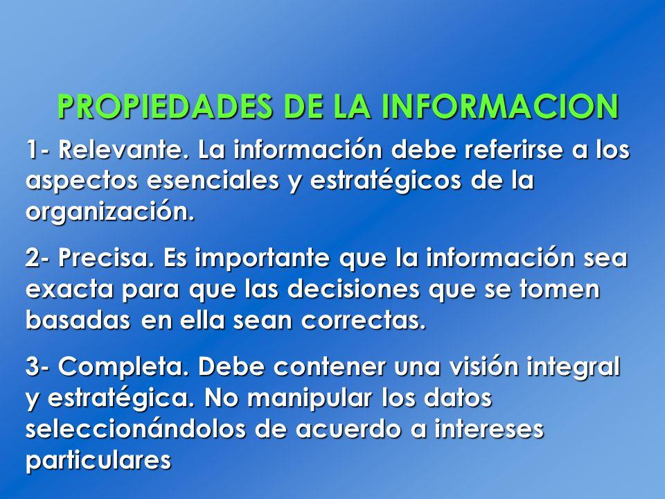 PROPIEDADES DE LA INFORMACION 1- Relevante. La información debe referirse a los aspectos esenciales y estratégicos de la organización. 2- Precisa. Es