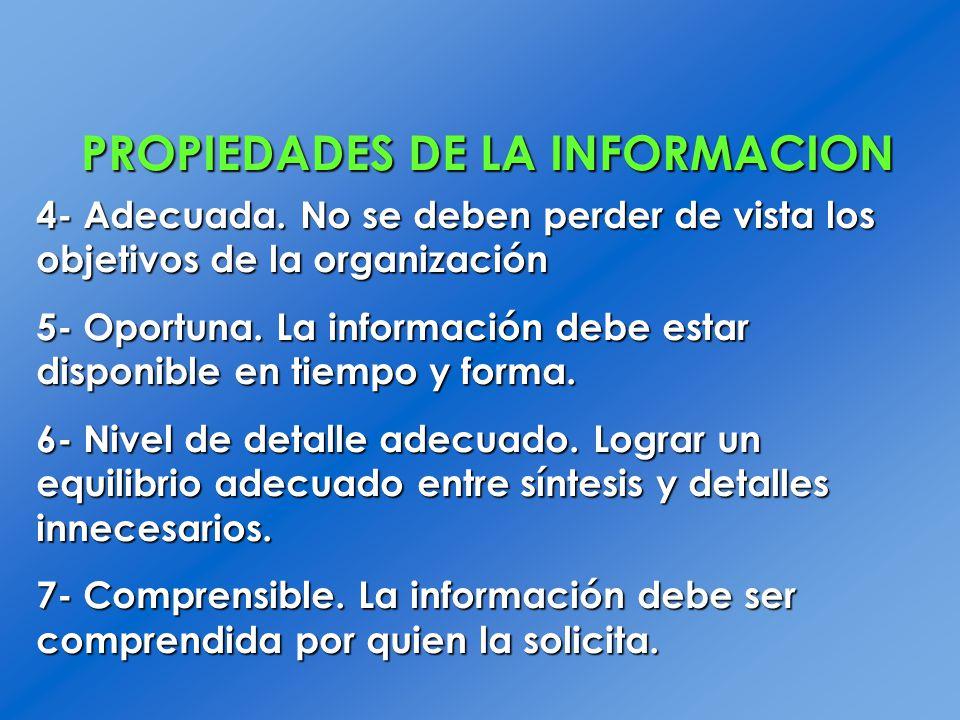 PROPIEDADES DE LA INFORMACION 4- Adecuada. No se deben perder de vista los objetivos de la organización 5- Oportuna. La información debe estar disponi