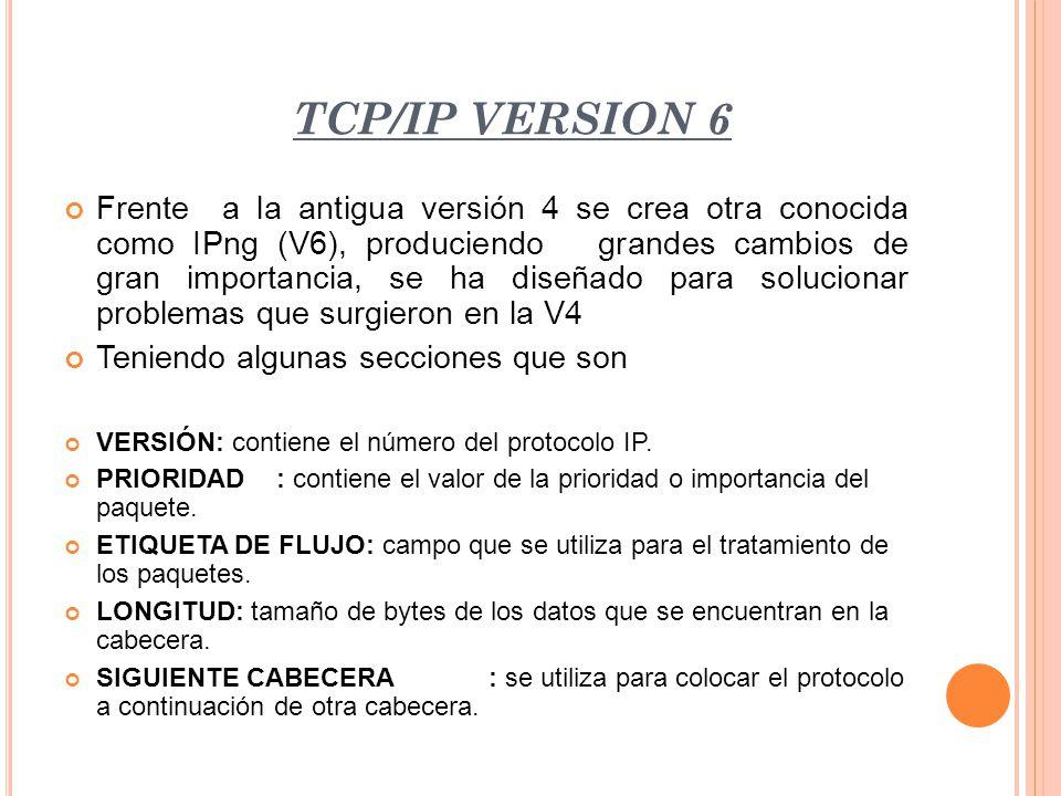 TCP/IP VERSION 6 Frente a la antigua versión 4 se crea otra conocida como IPng (V6), produciendo grandes cambios de gran importancia, se ha diseñado p
