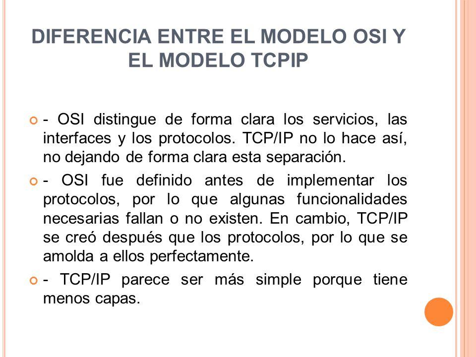 DIFERENCIA ENTRE EL MODELO OSI Y EL MODELO TCPIP - OSI distingue de forma clara los servicios, las interfaces y los protocolos. TCP/IP no lo hace así,