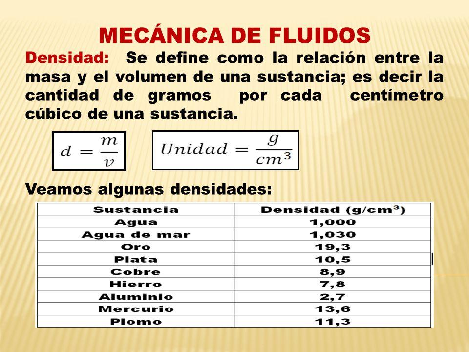 MECÁNICA DE FLUIDOS Densidad: Se define como la relación entre la masa y el volumen de una sustancia; es decir la cantidad de gramos por cada centímetro cúbico de una sustancia.
